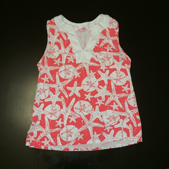 Lilly Pulitzer Tops - Lilly Pulitzer Sand Dollar StarFish red orange
